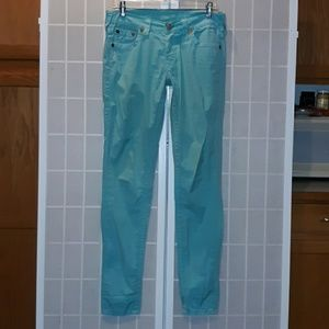 TRUE RELIGION Turquoise Green/Blue Jean Stretch 27